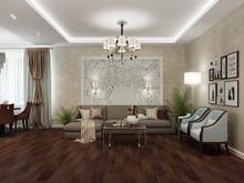 Квартира «Интерьер в духе американской классики», гостиная . Фото № 28680, автор Воробьева Анна