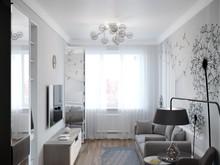Квартира «Геометричная скандинавия», гостиная . Фото № 28887, автор Kipri Taya