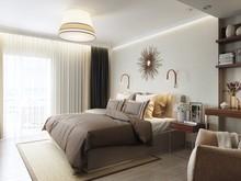 Квартира «СЕРО-БЕЖЕВОЕ НАСТРОЕНИЕ», спальня . Фото № 28897, автор Алёны Чекалиной Дизайн студия