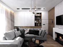 Квартира «Однушка 37м2», гостиная . Фото № 29254, автор Громова Наталья