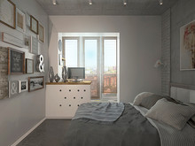 Квартира «Лофт для девушки студентки», спальня . Фото № 29282, автор Лубяная Татьяна