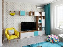 Квартира «Уютная квартира-студия для молодой пары.», гостиная . Фото № 29308, автор Сопова Екатерина