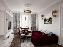 Квартира «Двухкомнатная квартира в Пушкине», гостиная . Фото № 29320, автор Корпан Ксения