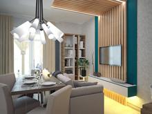 Квартира «Двухкомнатная квартира на Ленинском пр, С-Пб», гостиная . Фото № 29330, автор Корпан Ксения