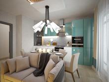 Квартира «Двухкомнатная квартира на Ленинском пр, С-Пб», кухня . Фото № 29329, автор Корпан Ксения