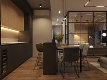 Квартира «Вандер Парк», кухня . Фото № 29337, автор GEOMETRIUM