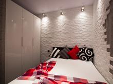 Квартира «Красный на сером холсте.», спальня . Фото № 29403, автор Арсюткина Светлана