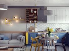 Квартира «Яркий Скандинавский дизайн в Лыткарино», кухня . Фото № 29466, автор Ивлиева Евгения