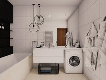 Квартира «Черно - белая квартира, с оранжевыми акцентами», ванная . Фото № 29572, автор Крылова Татьяна