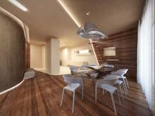 Квартира «Квартира на Фрунзенской набережной», кухня . Фото № 30121, автор Качалов Иван