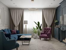 Квартира «Трехкомнатная квартира в стиле Фьюжн», гостиная . Фото № 30378, автор Хачатрян Дарья
