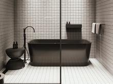 Квартира «Черный интерьер для холостяка в Санкт-Петербурге, 75 м²», ванная . Фото № 30574, автор MOSSEBO Студия