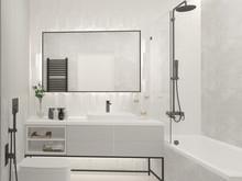 Квартира «Изящная графичность», ванная . Фото № 30847, автор Карпова Ольга
