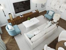 Дизайн интерьера трехкомнатной квартиры в стиле современная классика, фото № 8516, Болдырев Артем