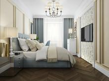 Квартира «Дизайн интерьера трехкомнатной квартиры в стиле современная классика», спальня . Фото № 31409, автор Болдырев Артем