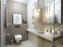 Квартира «Дизайн интерьера двухкомнатной квартиры Современный стиль ЖК Level Кутузовский», ванная . Фото № 31412, автор Болдырев Артем