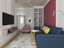 Квартира «Яркие акценты», гостиная . Фото № 31604, автор Барг Валерия