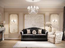 Квартира «Классика с золотом», гостиная . Фото № 31821, автор TerraDiz студия дизайна