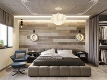Квартира «ИНДУСТРИАЛЬНАЯ ГЕОМЕТРИЯ», спальня . Фото № 31891, автор Алёны Чекалиной Дизайн студия