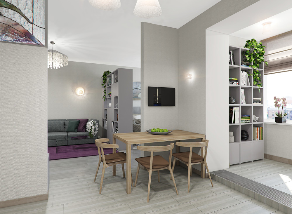 Квартира «Однокомнатная квартира площадью 62 кв.м в стиле Contemporary», кухня, фото из проекта