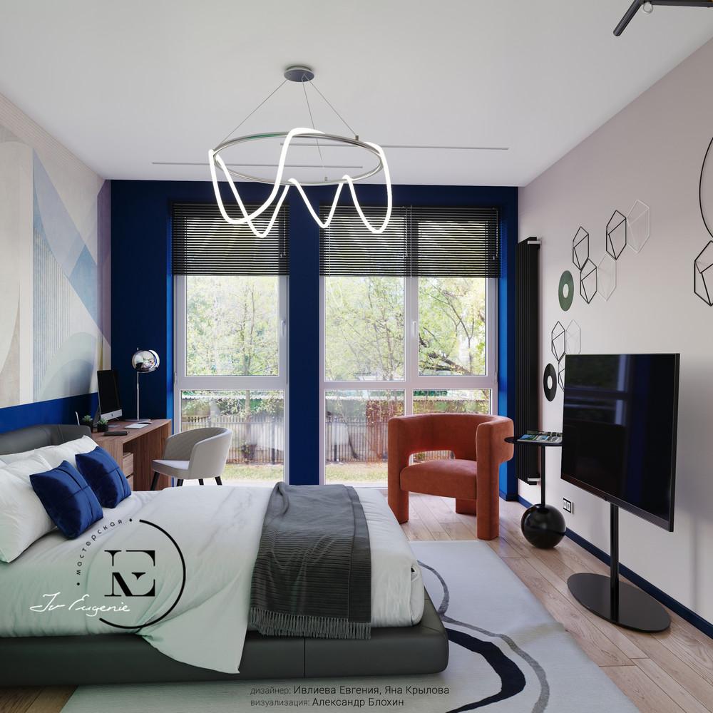 Квартира «Графичный Soleray в ЖК Хорошевский.», спальня, фото из проекта