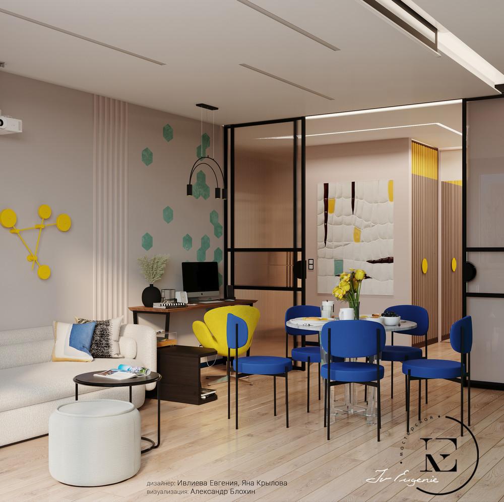 Квартира «Графичный Soleray в ЖК Хорошевский.», гостиная, фото из проекта