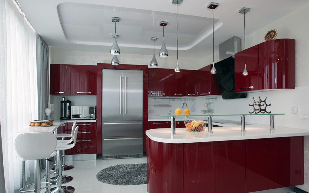 Красные фасады линейной кухни в современном стиле