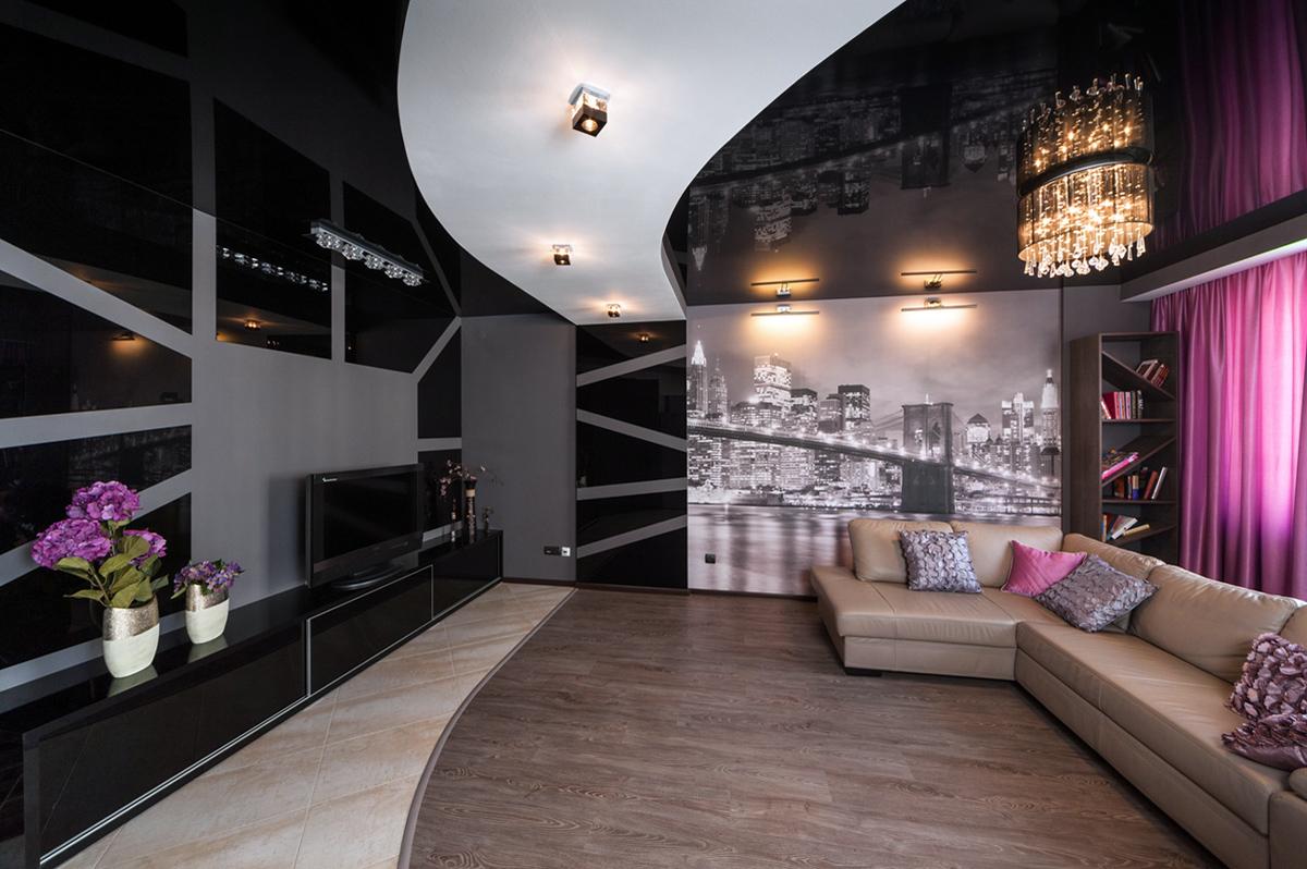 Квартира «Чёрное озеро», гостиная, фото из проекта