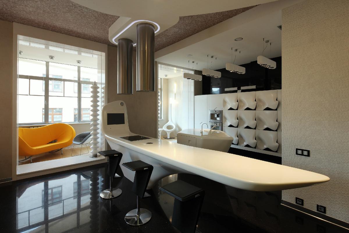 Дизайн интерьера кухни совмещённой с балконом.