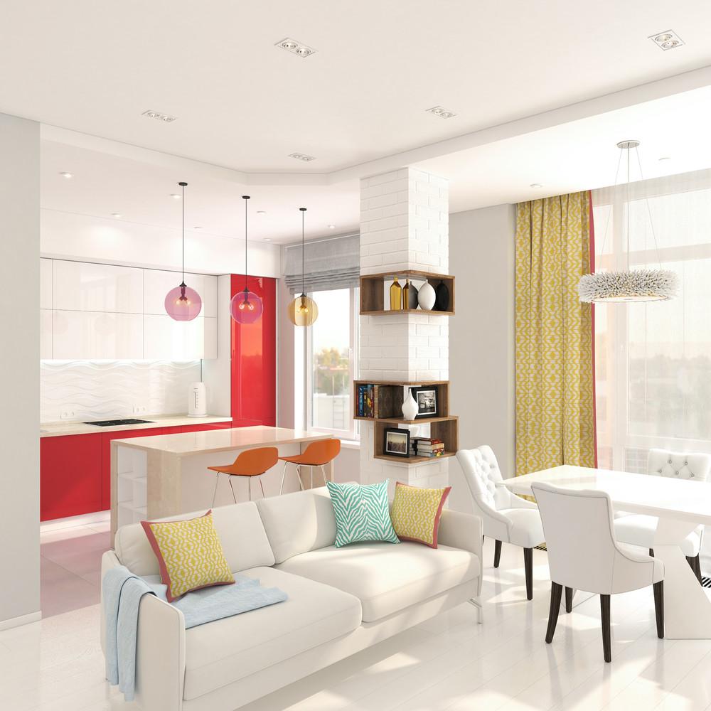 Квартира «Минимализм с всплеском авангарда.», гостиная, фото из проекта